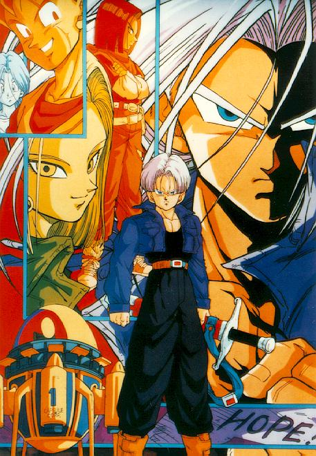 [Image: Poster of Future Trunks with cyborgs in background]